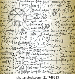 """Vector seamless pattern with mathematical figures and formulas, """"handwritten on the old copybook paper"""""""