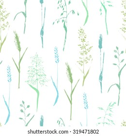 Vector seamless pattern. Meadow grass seamless pattern. Colorful grass silhouettes on white background. Ecological nature and organic product background.