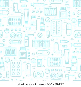 Vector seamless pattern with medicament icons in trendy linear style. Online drugstore background