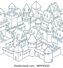 Vector seamless pattern with medieval architecture. Cute cartoon city. Illustration with towers, walls, streets, houses. Gothic architecture. Seamless border design.
