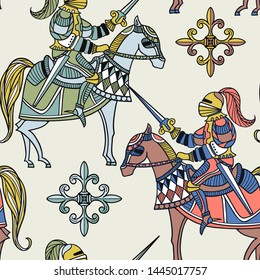 vector seamless pattern with medieval horsemen