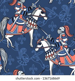vector  seamless pattern with medieval knights on a blue background