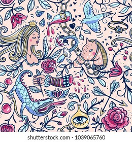 vector seamless pattern with medieval princess, dragons, roses and vintage elements