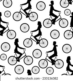 Vector seamless pattern with men and women riding bicycles