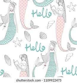 Vector seamless pattern with a mermaid and seashells