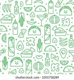 Vector seamless pattern of mexican cuisine. Traditional food and drink line icons like taco, nacho and burrito. Fun modern style background.