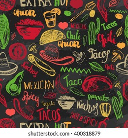Vector seamless pattern mexican food with lettering. Mexican  tacos, burritos, nachos. Mexican kitchen. Can be used for restaurant, cafe of Mexican food menu.