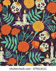 """Vector seamless pattern of Mexican holiday """"Day of the Dead"""". The illustration with traditional  sugar skulls, marigold flowers and candles"""