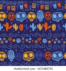 Vector seamless pattern with Mexico traditional celebration decor elements - skull, garland, flowers, cactus & abstract ornaments isolated on dark blue background. Good for packaging, prints, cards.