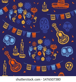 Vector seamless pattern with Mexico traditional celebration decor elements - guitar, sombrero hat, skull, candle, flowers & petals isolated on dark blue background. Good for packaging, prints, textile