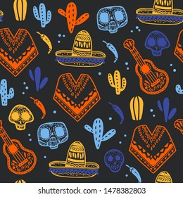 Vector seamless pattern with Mexico traditional celebration decor elements - guitar, sombrero, maracas, paprika, cactus, paprika, skull, poncho on dark background. Good for packaging, prints, textile.