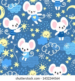 Vector seamless pattern with mice in childish cartoon style. Background picture with animals and stars.