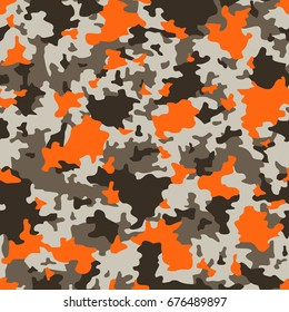 Vector seamless pattern. Military camouflage. Grey and orange.