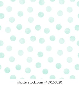 Vector seamless pattern of mint watercolor circles on a white background
