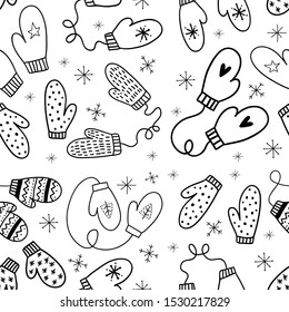 Vector seamless pattern with mittens. Hand-drawn illustration with mittens for the new year, Christmas. Vector doodle pattern with mittens and snowflakes.