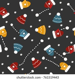 Vector seamless pattern with mittens hats and snowballs. Black background. Abstract simple ornamental illustration