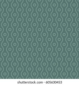 Vector seamless pattern. Modern dotted texture. Repeating abstract background. Small circles and wavy linear grid. Graphic backdrop. Vertical direction.