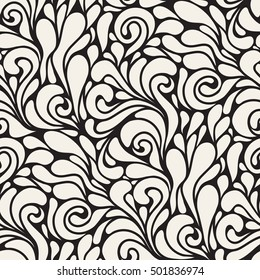 Vector seamless pattern. Modern floral texture. Endless whimsical background.