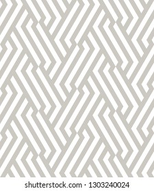 Vector seamless pattern. Modern geometric texture. Repeating abstract background. Polygonal linear grid from striped elements. Can be used as swatch for illustrator. Subtle gray neutral print.
