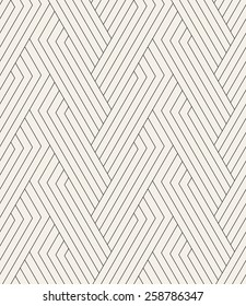 Vector seamless pattern. Modern linear texture. Repeating geometric background. Striped hexagonal weaved grid. Contemporary graphic design. Regular rhythmic print.
