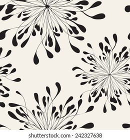 Vector seamless pattern. Modern repeating texture. Fancy print with stylized flowers