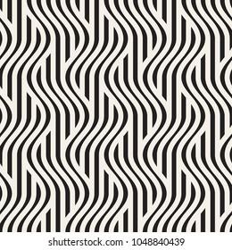Vector seamless pattern. Modern stylish texture. Geometric striped ornament. Monochrome bold waves.