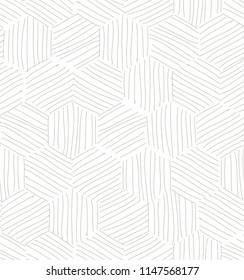 Vector seamless pattern. Modern stylish texture. Repeating geometric tiles with hatched hexagons. Trendy hipster background. Hand drawn striped multipurpose minimalistic simple ornament.
