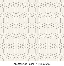 Vector seamless pattern. Modern stylish texture. Repeating geometric tiles with linear hexagonal grid. Hipster monochrome print. Trendy graphic design.
