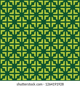 Vector seamless pattern. Modern stylish texture with square traingle and plus. Repeating geometric. Simple green graphic design.