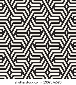 Vector seamless pattern. Modern stylish texture. Repeating geometric tiles with weaved bold grid. Hipster monochrome print. Trendy graphic design.
