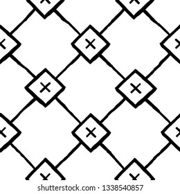 Vector seamless pattern. Modern stylish texture. Repeating geometric tiles with squares and rhombuses and crosses