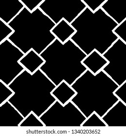 Vector seamless pattern. Modern stylish texture. Repeating geometric black and white tiles with squares and rhombuses.