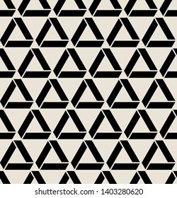 Vector seamless pattern. Modern stylish texture. Repeating geometric tiles with bold triangles. Contemporary graphic design. Trendy hipster monochrome print.
