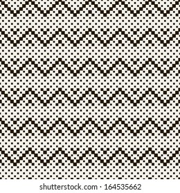 Vector seamless pattern. Modern stylish texture. Repeating geometric tiles with dotted zigzag