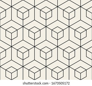 Vector seamless pattern. Modern stylish texture. Repeating geometric background with linear hexagons