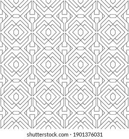Vector seamless pattern. Modern stylish texture. Regularly repeating geometric ornament with angular and vertical lines. Monochrome, linear abstract background.