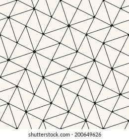 Vector seamless pattern. Modern stylish texture. Repeating geometric tiles. Rotated grid with curved squares and triangles