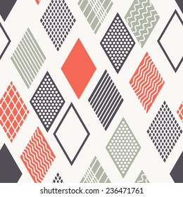 Vector seamless pattern. Modern stylish texture. Geometric ornament with colorful rhombuses