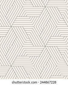 Vector seamless pattern. Modern stylish texture. Repeating geometric tiles. Linear grid with striped rhombuses which form hexagonal stars