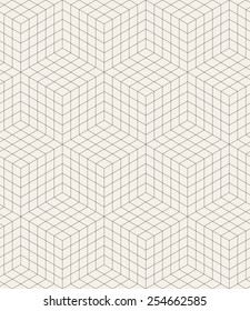 Vector seamless pattern. Modern stylish texture. Repeating geometric background. Linear grid with isometric cubes