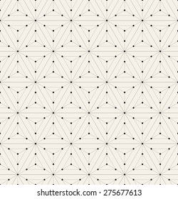 Vector seamless pattern. Modern stylish texture. Repeating geometric background with linear hexagons and triangles. Small circles in nodes. Minimalistic graphic design.