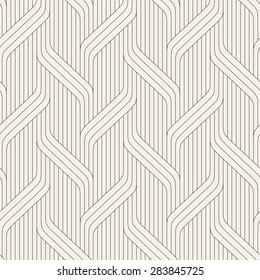 Vector seamless pattern. Modern stylish texture. Geometric striped ornament. Monochrome linear braids. Contemporary graphic design.
