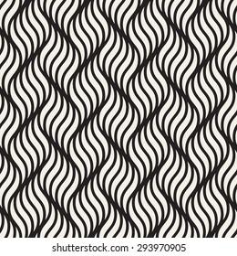 Vector seamless pattern. Modern stylish texture. Geometric striped ornament. Monochrome wavy background