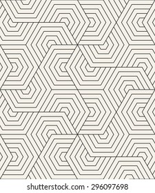 Vector seamless pattern. Modern stylish texture. Repeating geometric tiles. Linear grid with striped hexagons. Hexagonal geometric background. Contemporary graphic design.