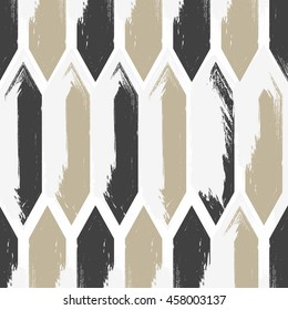 Vector seamless pattern. Modern stylish texture. Repeating geometric tiles with painted mosaic.Black,light brown and white