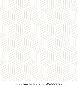 Vector seamless pattern. Modern stylish texture. Repeating geometric tiles. Striped monochrome rhombuses form cube print.