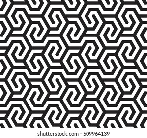 Vector seamless pattern. Modern stylish texture. Repeating geometric pattern of hexagons tiles with displacement.