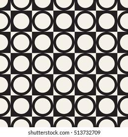 Vector seamless pattern. Modern stylish texture. Repeating geometric tiles with circles and squares. Simple minimalistic backdrop.