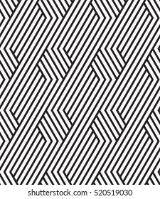 Vector seamless pattern. Modern stylish texture. Geometric striped ornament. Monochrome linear braids.
