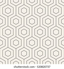 Vector seamless pattern. Modern stylish texture with monochrome trellis. Repeating geometric hexagonal grid. Simple graphic design. Trendy hipster sacred geometry.